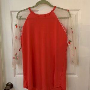Lularoe medium randy shirt lace sleeves